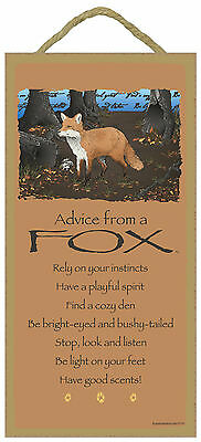 Advice from a Fox Inspirational Wood Wild Animal Sign Plaque Made in USA