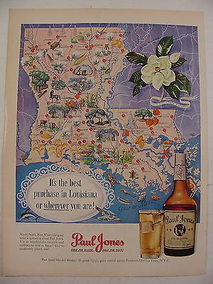 1950 Paul Jones Whiskey Best Purchase in LOUISIANA Map Print Ad