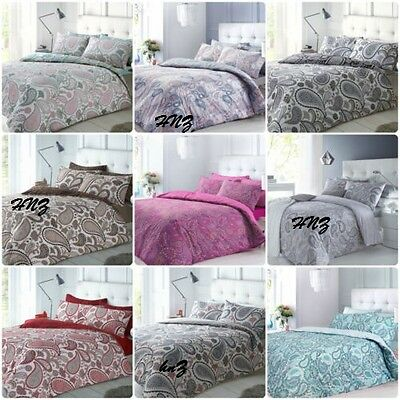 New Paisley Duvet Quilt Bedding Cover Pillow Case Set Shell Pink Aqua Peach Blue