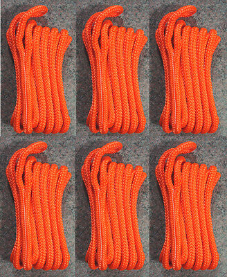 "(6) Orange Double Braided 3/8"" x 20' ft Boat Marine HQ Dock Lines Mooring Ropes"