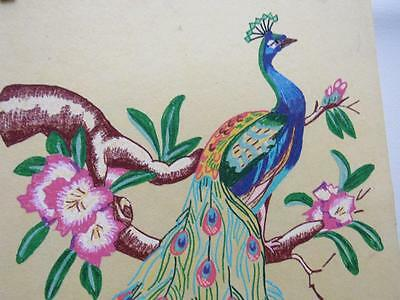 """Vtg 1960s Mid-Century PEACOCK Handpainted Picture on Fabric Tri-Chem? 12x18"""""""