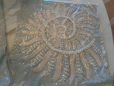 """Pottery Barn Blue Nautilus Embroidered PILLOW COVER 18""""  beach shell New"""