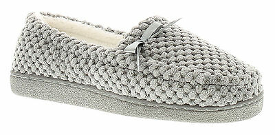 New Ladies/Womens Grey Memory Foam Slippers With Bow UK SIZES
