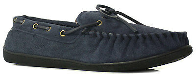 New Mens/Gents Navy Leather Suede Moccasin Slippers UK SIZES