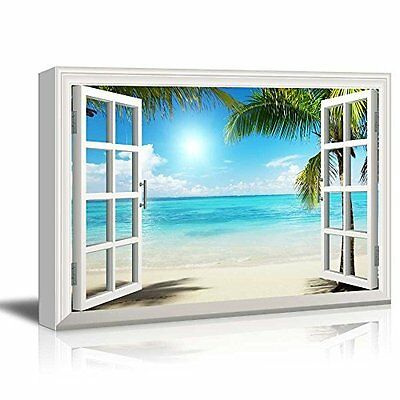 [Framed] Window Style Beach Sea Modern Canvas Wall Art Prints Picture Home Decor