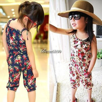 Girls Toddler 2-11Y Jumpsuit Short Playsuit Summer Floral Soft Clothing BF901