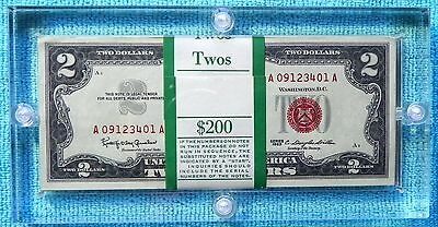 1963 $2 100-Consecutive Federal Reserve Two Dollar Red Seal Sequential Lot-#3