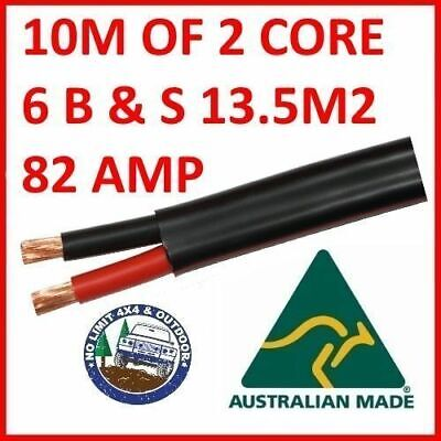 10 METRES 6B&S TWIN CORE CABLE DUAL BATTERY SYSTEM 14mm2 6 B&S 10M 82 AMP 82A