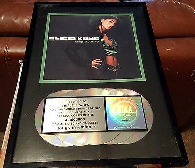 Alicia Keys Songs in A Minor RIAA 500,000 Sales Compact Disc Cassette Award
