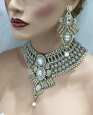 Bollywood Kundan gold crystal fashion jewelry set bridal bib necklace earrings