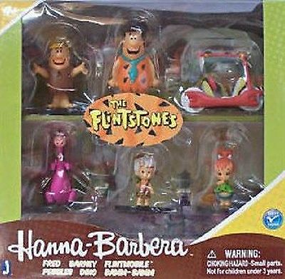 New Hanna Barbera The Flinstones Collectible Figure Set Pebbles, Bamm Bamm Dino