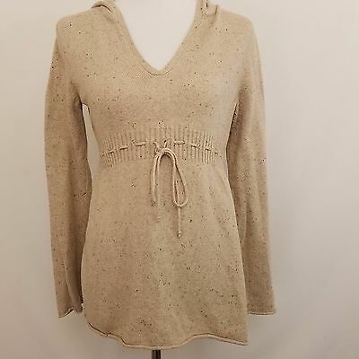 Mimi Maternity Hoodie Sweater Pullover Women's Small S Beige Long Sleeve