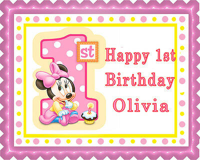 Groovy Baby Minnie Mouse 1St Birthday B Edible Cake Topper Cupcake Funny Birthday Cards Online Inifodamsfinfo