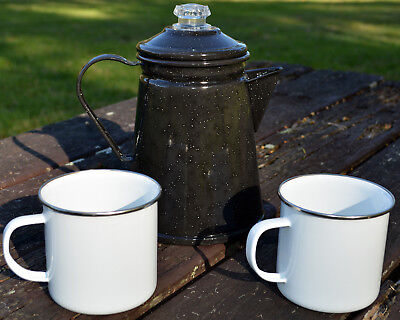 Falcon Enamel Black Percolator & Enamel Mug Set