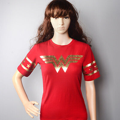 US SHIP Wonder Woman Gold Foil Striped Short Sleeves Red T-shirt Tops Cosplay