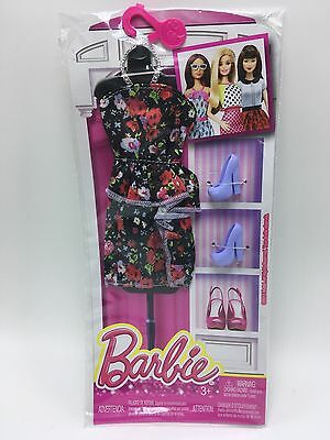 Barbie strapless Fashion pack floral Multi Color Flower Dress with Lilac Shoes