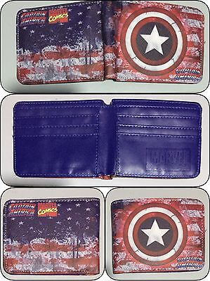 Bifold Wallet Marvel Captain America Hero Mens Boys Girls Kids Superhero Shield
