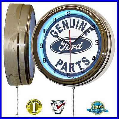 """Ford Genuine Parts Sign 16"""" Blue Neon Lighted Wall Clock Chrome"""