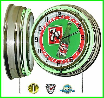 "19"" Fresh Up With 7UP * You'll Like It! Retro Green Double Neon Clock Chrome"