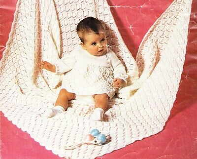 "VINTAGE BABY SHAWL  51"" & DRESS in 4 sizes / 3ply - COPY baby knitting pattern"