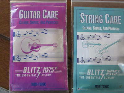 2 Blitz Care Cloths Clean Shine Protect Strings & Guitars Musical Instruments