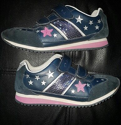 Clarks Girls Size 2G Navy Blue Leather & Suede Sequined Sneakers