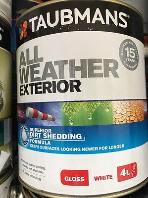 Taubmans All Weather Exterior Gloss  White 4L