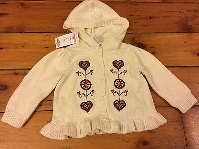 NWT Gymboree Alpine Sweetie 12-18-24M Ivory Sweater Cardigan Hoodie Hooded Girls