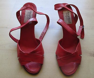 Chaussures HEYRAUD tout cuir - rouges - pointure 38 - TTBE