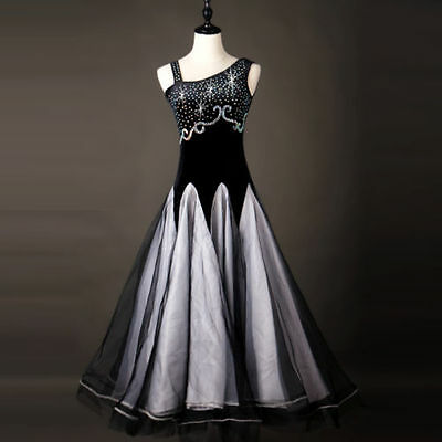 New Ballroom Dance Dress Modern Waltz Standard Competition Rhinestone Dress