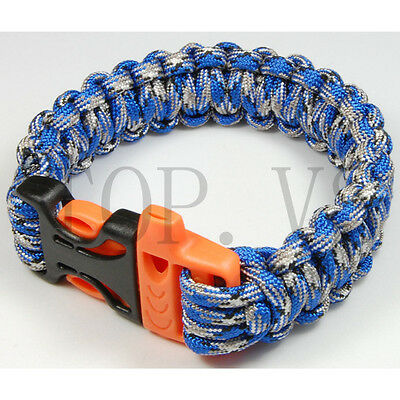 550 Paracord Parachute Cord Military Survival Bracelet Tool Camping Whistle #3 A