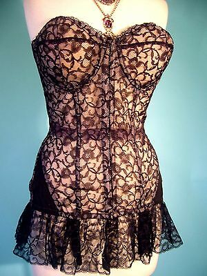 SPECTACULAR 1950s BOMBSHELL French Illusion Chantilly Lace Nude Corset LARGE 38