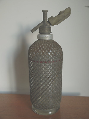 Antique Soda Siphon circa 1900 stee mesh cover to prevent harm if it exploded