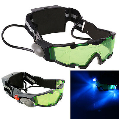 Night Vision Adjustable Elastic Band Goggles Glasses Eyeshield w/ LED Green Lens