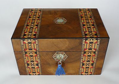 Deep Antique Walnut, Parquetry & Mother of Pearl Jewellery Box