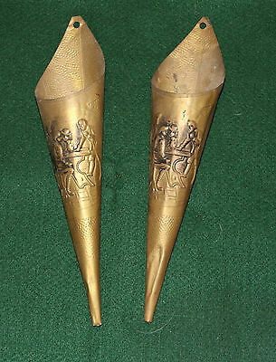 2 Long Vintage Hammered Brass Cone Fireplace Match Holders