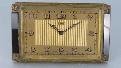 ART DECO 8 DAY BOUDOIR CLOCK 15 jewel mechanism by DOXA of SWITZERLAND gilt case