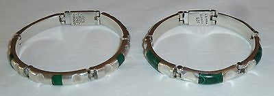 2 Vintage Green MALACHITE Inlay Chunky Link BRACELETS 925 Sterling SILVER Mexico