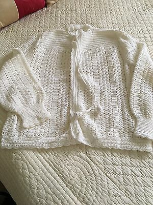Vintage Crochet Bed Jacket Cardigan Size L