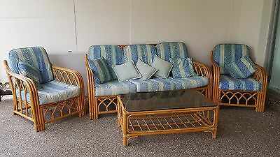 Vintage Cane Bamboo Pretzel Lounge Suite -  Dining & Coffee Table Chairs Set