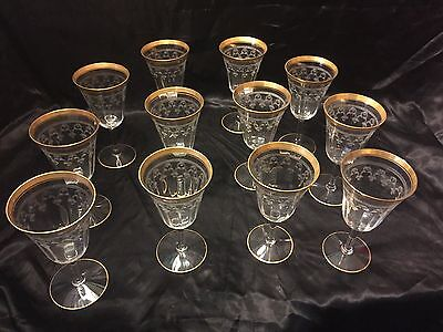 12pc Tiffin Franciscan Water Wine Goblets Gold Encrusted Needle Etch 14196