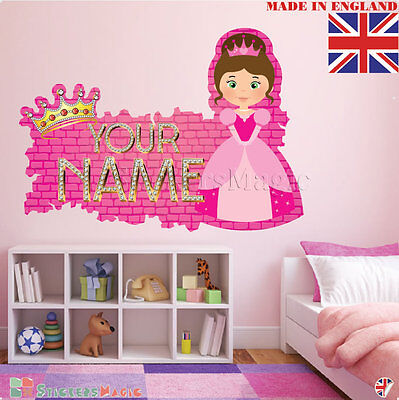 PERSONALISED NAME WALL Stickers Girls Bedroom Princess Custom Vinyl ...