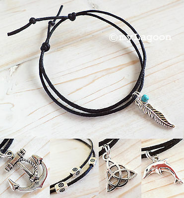 Silver Charm Anklet Black Cord Ankle Bracelet Feather Triquetra Dolphin Anchor