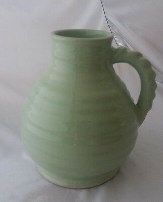 Bourne Denby Large Vase/Ewer  Pale Green ribbed body and handle RARE