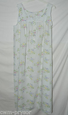 Vintage Summer Floral Long Nightdress / Nightie Size L / XL