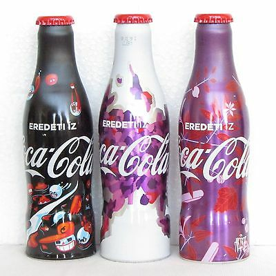 The FULL set of 3 aluminium bottle COCA COLA- THE WHITE,BLACK AND PURPLE LIMITED