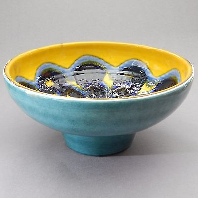 """Large 10.4"""" Poole Pottery Delphis Footed Bowl Yellow Blue Vintage Wyburgh 1968"""