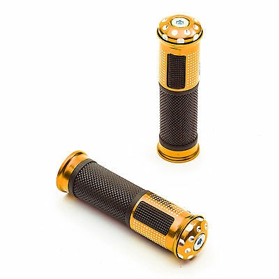 Motorcycle Handlebar Soft Grips 7/8 22mm Orange Alloy Bar End Weight Motorbike