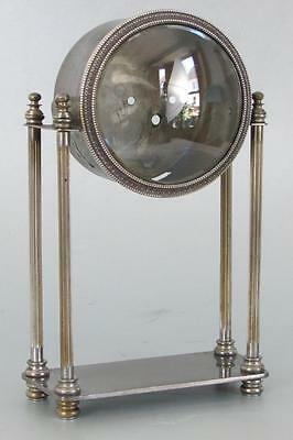 ANTIQUE PORTICO MANTEL CLOCK CASE silver plated BEVELED GLASS clock parts