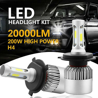 H4 9003 HB2 LED Headlight Kit 200W 20000LM PHILIPS High/Low Beam Head Fog Bulbs